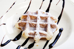 Waffle and Chocolate Stock Images