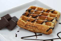 Waffle with Chocolate Royalty Free Stock Photos