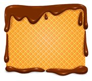 Waffle in chocolate banner stock image