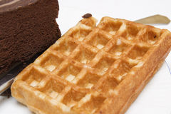 Waffle with chocolate cake Stock Photography