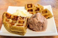 Waffle with chocolate ice cream Royalty Free Stock Images