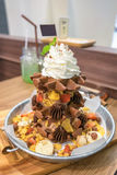 Waffle chocolate ice cream with various fruit and whip cream Royalty Free Stock Image