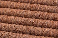 Waffle chocolate rolls. Stick closeup background Royalty Free Stock Photo