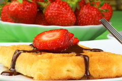 Waffle with chocolate and strawberry. Waffle with chocolate sauce and strawberry slices on a white porcelain dish over a green tablecloth. In the background some royalty free stock photos