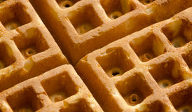 Waffle Closeup. Closeup shot of a freshly cooked waffle in morning light royalty free stock photos