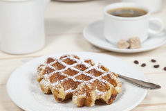 Waffle and coffee Royalty Free Stock Image
