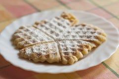 Waffle com açúcar pulverizado Fotos de Stock