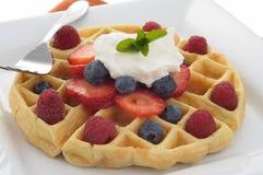 Waffle com fruta Foto de Stock Royalty Free