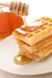 Waffle com mel Imagens de Stock