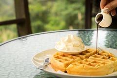Waffle con panna montata sul lato e sulla guarnizione di versamento della cioccolata calda immagine stock libera da diritti