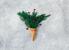 Waffle cone with composition of branches and pine cones royalty free stock photography
