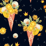 The waffle cone with dandelions seamless pattern Royalty Free Stock Images