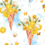 The waffle cone with dandelions seamless pattern Stock Image