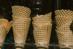 Waffle cone for ice cream in a glass case Stock Photography