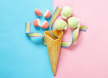 Free Waffle Cone With Jelly Sweets Stock Images - 89913004