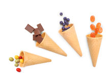 Waffle cones with chocolate, Stock Photo