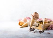 Waffle cones with coffee ice cream Stock Photo