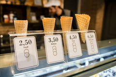 Waffle cones for ice cream Stock Images