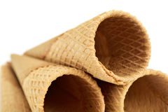 Waffle cones for ice cream Stock Image