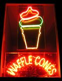 Waffle Cones Neon Sign Stock Photography