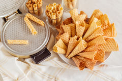 Waffle cones on plate. Top view Royalty Free Stock Photo