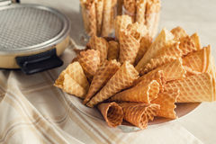 Waffle cones on plate. Top view Royalty Free Stock Photos