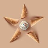 Waffle cones with Vanilla ice cream Stock Photography