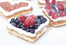 Waffle cookies in the form of hearts Stock Image