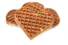 Waffle cookies in the form of hearts Royalty Free Stock Images