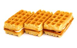 Waffle cookies stacked Stock Images
