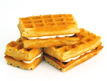 Waffle Cookies Stacked Stock Photos