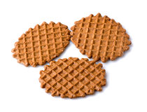 Waffle cookies  on white background Royalty Free Stock Images