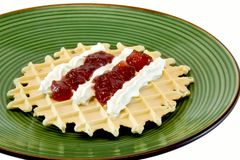 Waffle with cream Stock Images