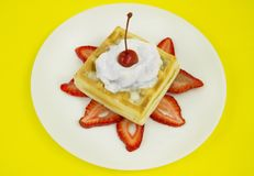 Waffle Cream And Cherry Stock Image