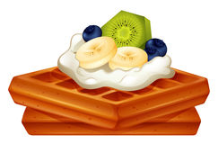 Waffle with cream and fruits Stock Photo