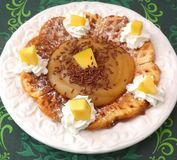 Waffle with cream and mango Royalty Free Stock Photos