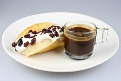 Waffle cream raisins and coffee Stock Images