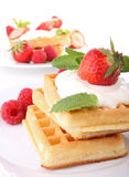 Waffle with cream and strawberry Stock Photos