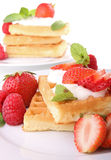 Waffle with cream and strawberry Royalty Free Stock Photo