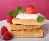 Waffle with cream and strawberry Stock Image