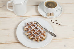 Waffle. And cup of coffee Stock Image