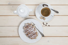 Waffle. And cup of coffee Royalty Free Stock Photos