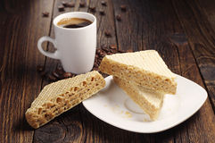 Waffle and cup of coffee Royalty Free Stock Photography