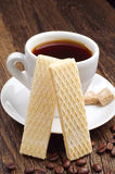 Waffle and cup of coffee closeup Royalty Free Stock Photo