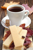 Waffle and cup of coffee Stock Photos