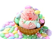 Waffle cup and ice cream Royalty Free Stock Photos