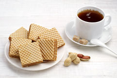Waffle and cup of tea closeup Royalty Free Stock Image