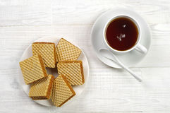 Waffle and cup of tea Royalty Free Stock Photo