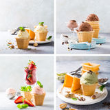 Waffle cups with chocolate ice cream. Food photo collage of assorted ice cream in waffle cups, vanilla, chocolate, strawberry and pistachio. Healthy summer food Stock Photography