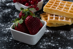 Waffle with currant and strawberry Royalty Free Stock Photos